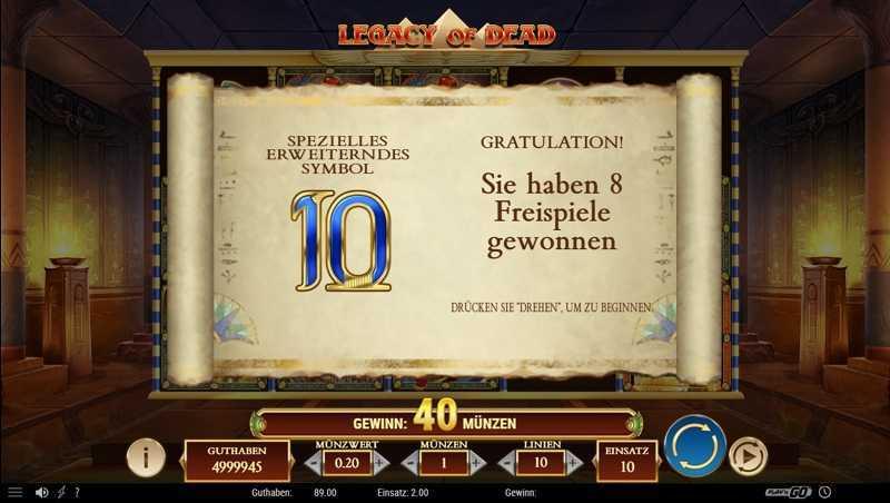 Legacy of Dead Freispiele